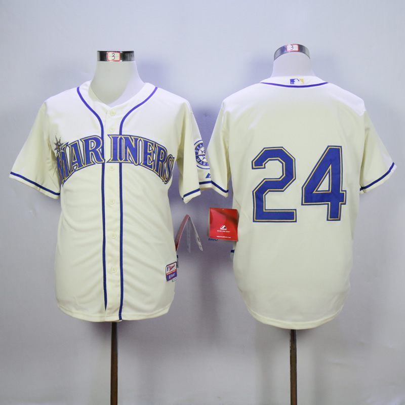 Men Seattle Mariners 24 Griffey Cream MLB Jerseys
