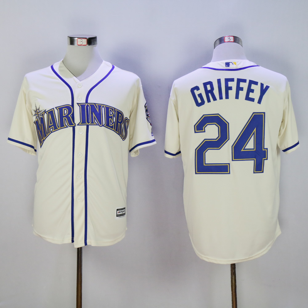 Men Seattle Mariners 24 Griffey Cream Throwback MLB Jerseys