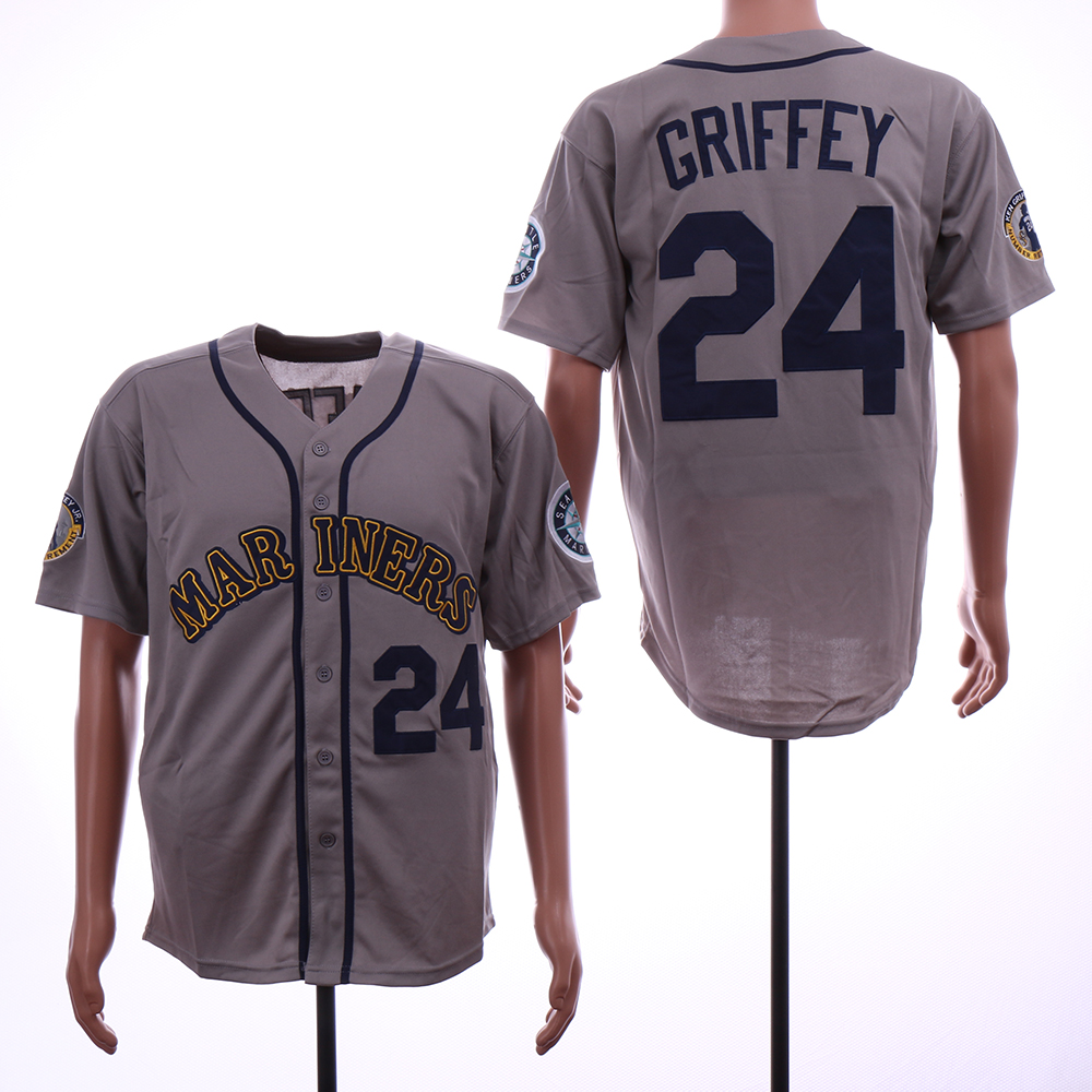 Men Seattle Mariners 24 Griffey Grey Throwback MLB Jerseys