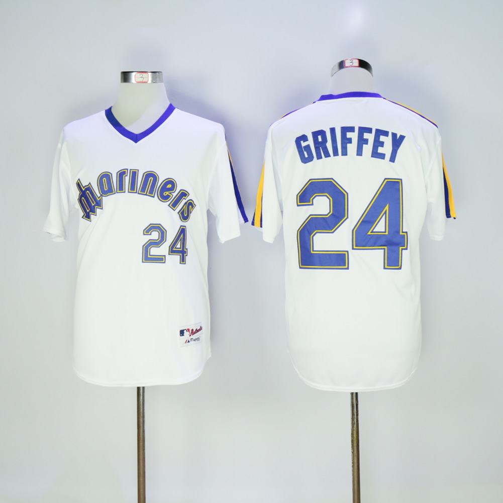 Men Seattle Mariners 24 Griffey White Throwback 1984 MLB Jerseys