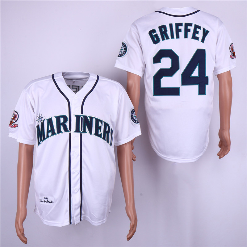Men Seattle Mariners 24 Griffey White Throwback 1995 MLB Jerseys