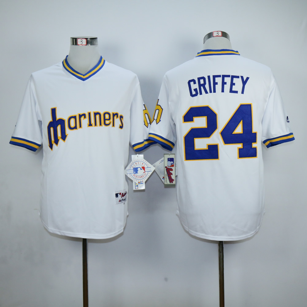 Men Seattle Mariners 24 Griffey White Throwback MLB Jerseys