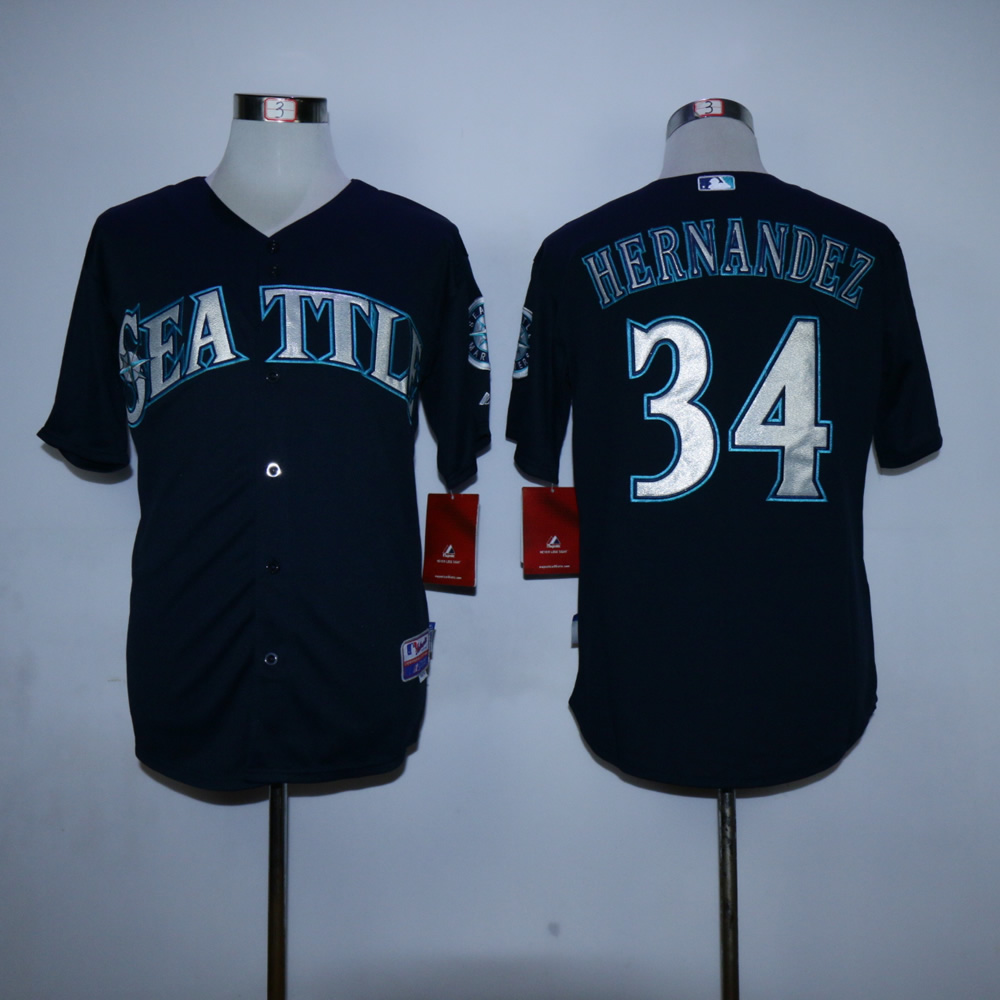 Men Seattle Mariners 34 Hernandez Black MLB Jerseys