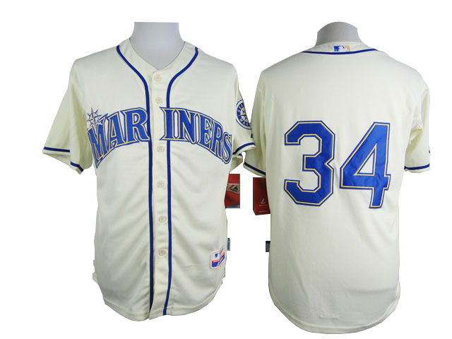 Men Seattle Mariners 34 Hernandez Cream MLB Jerseys