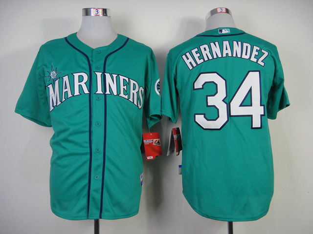 Men Seattle Mariners 34 Hernandez Green MLB Jerseys