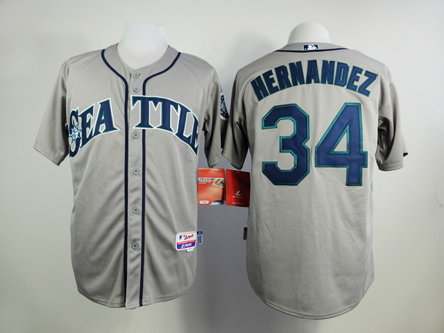Men Seattle Mariners 34 Hernandez Grey MLB Jerseys