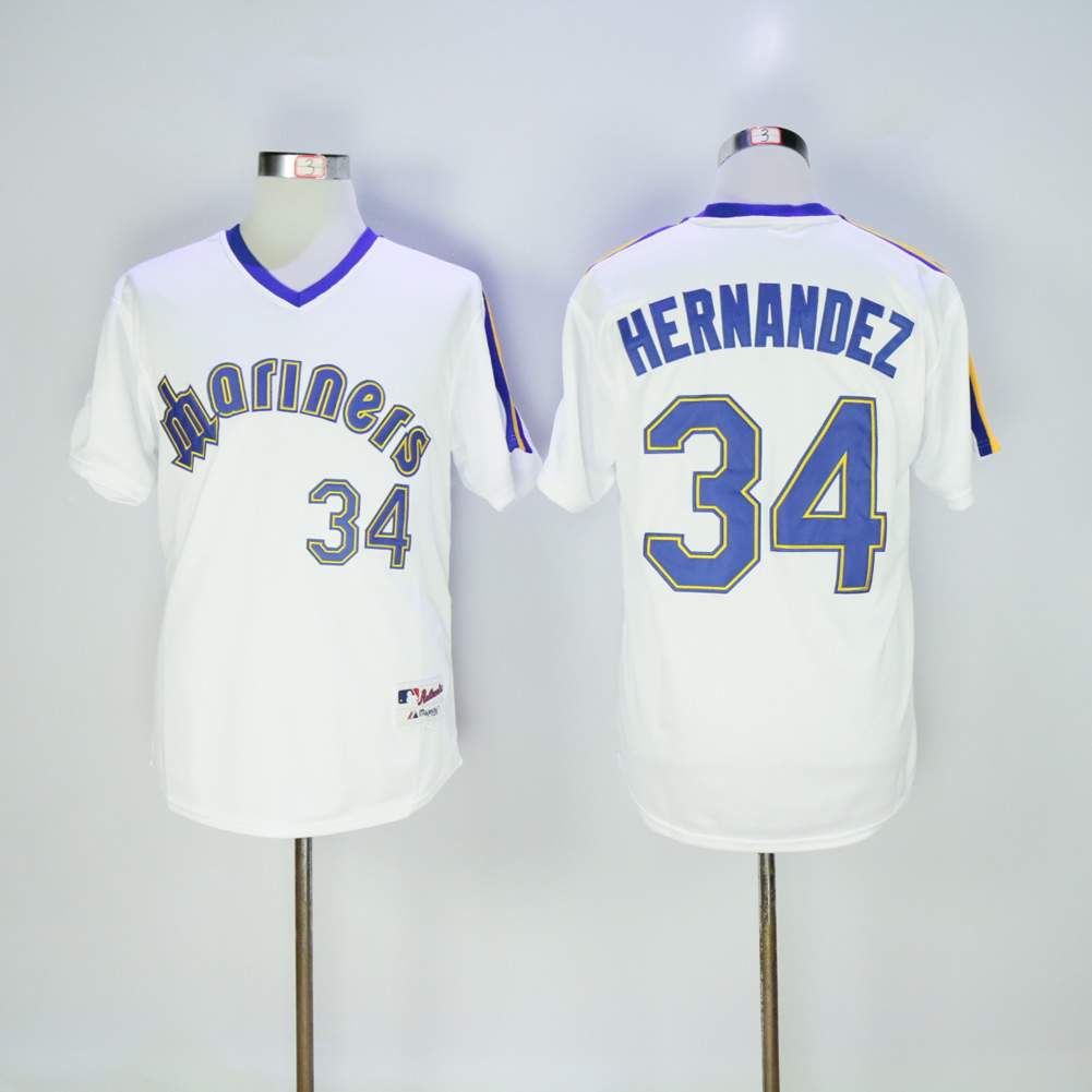 Men Seattle Mariners 34 Hernandez Whtie Throwback 1984 MLB Jerseys