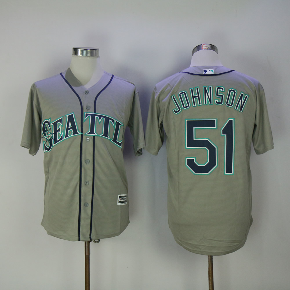 Men Seattle Mariners 51 Johnson Grey MLB Jerseys