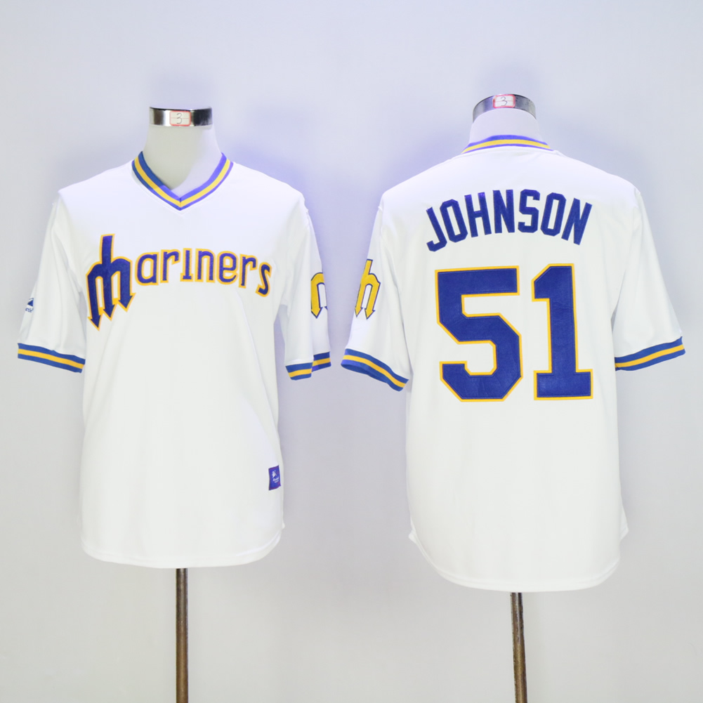 Men Seattle Mariners 51 Johnson Whtie Throwback MLB Jerseys