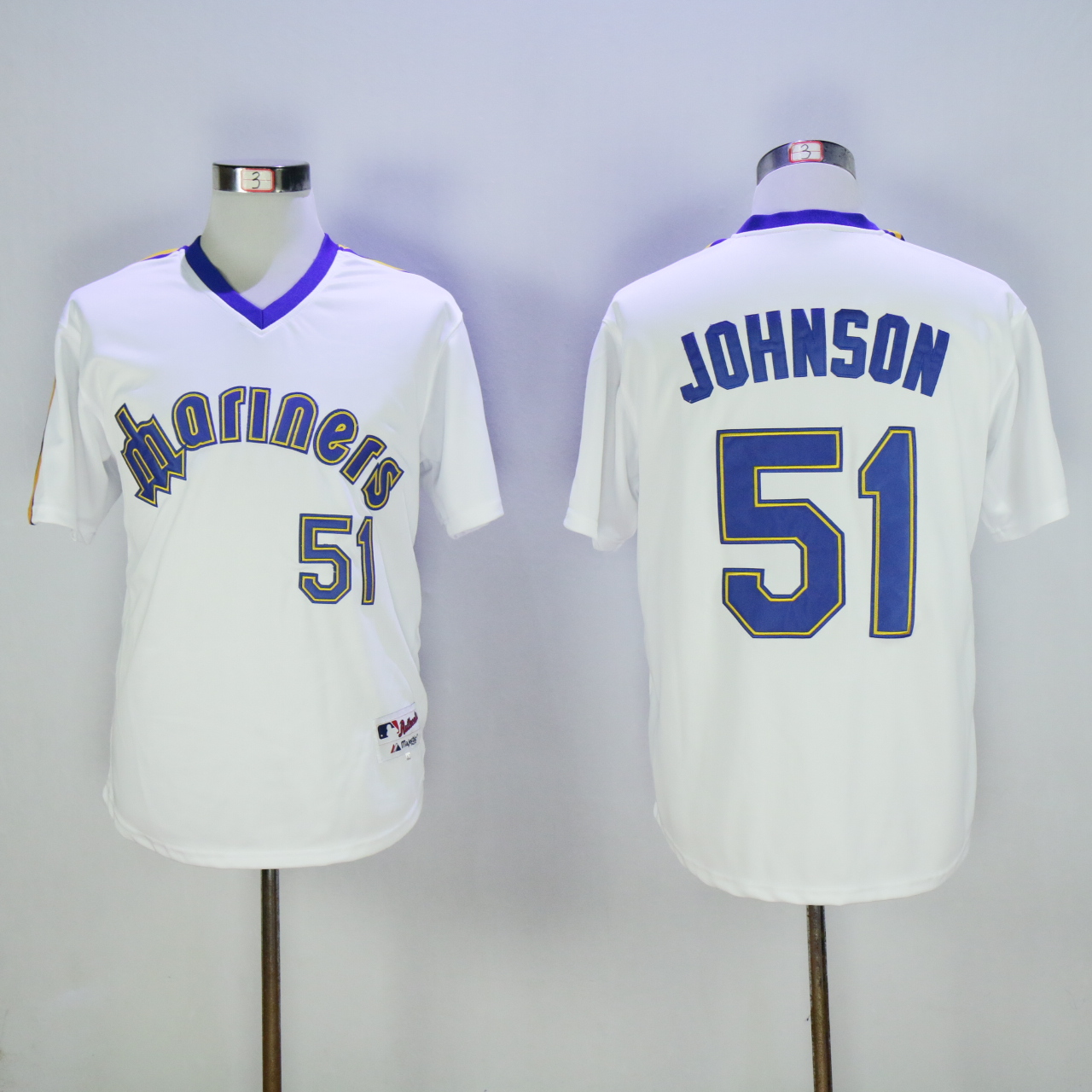 Men Seattle Mariners 51 Johnson Whtie Throwback MLB Jerseys1