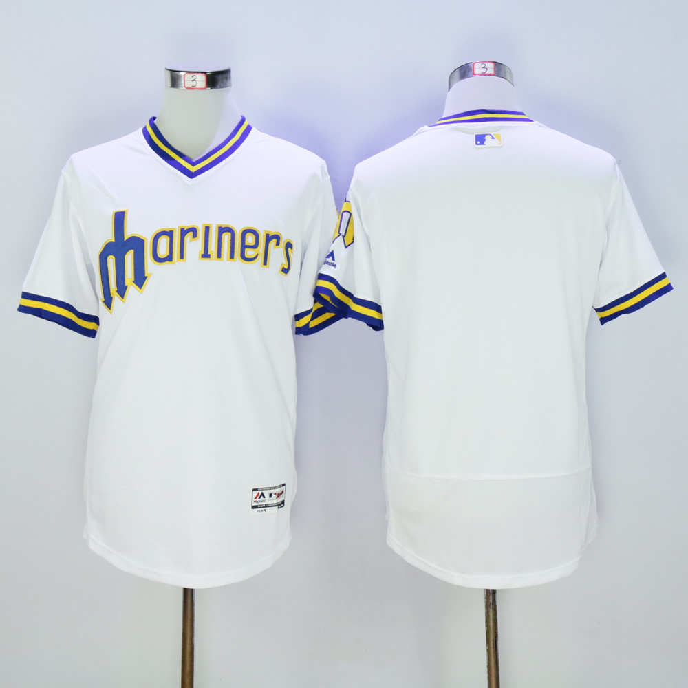 Men Seattle Mariners Blank White Throwback MLB Jerseys