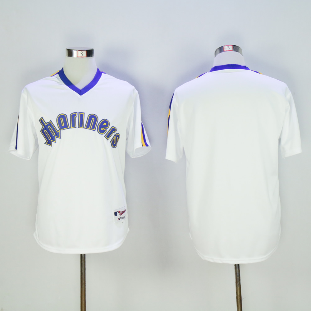 Men Seattle Mariners Blank White Throwback MLB Jerseys1