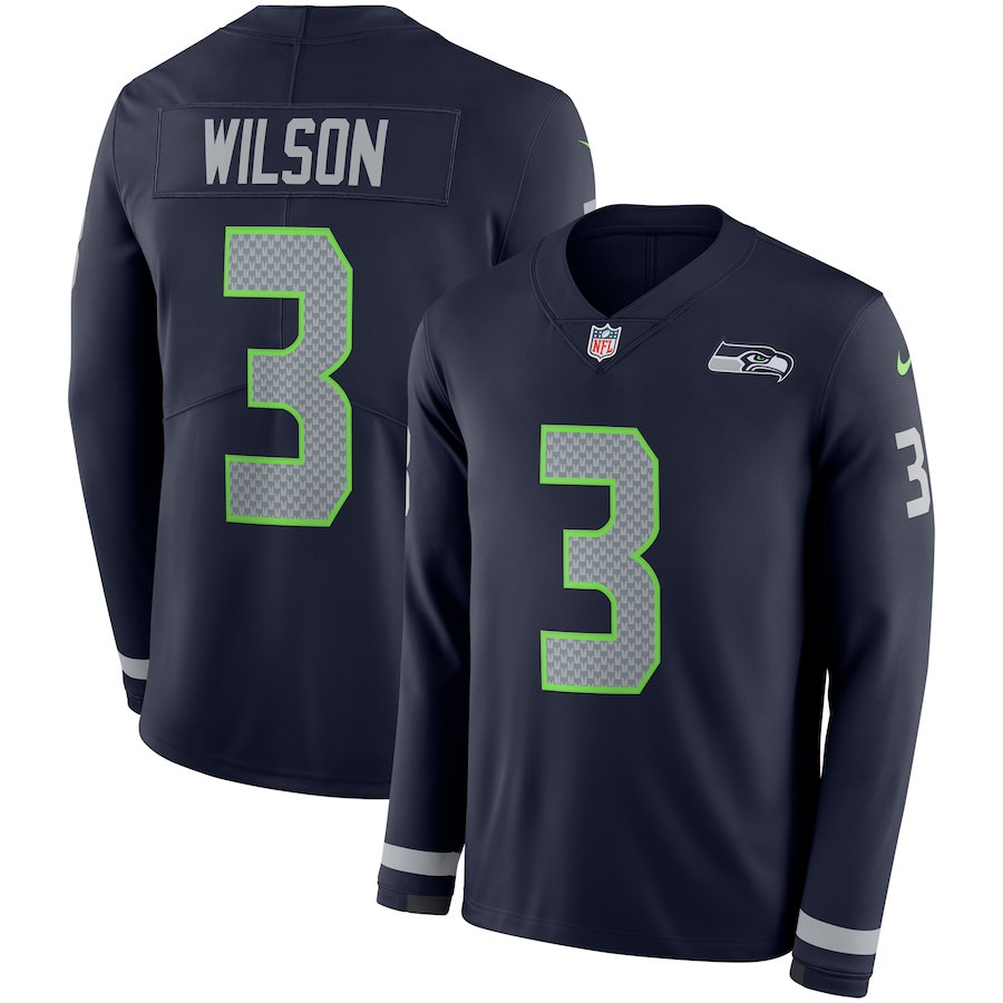 Men Seattle Seahawks 3 Wilson blue Limited NFL Nike Therma Long Sleeve Jersey