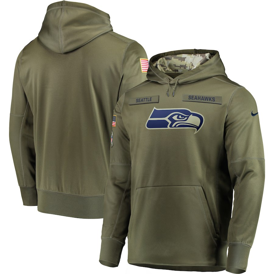 Men Seattle Seahawks Nike Olive Salute To Service KO Performance Hoodie Green