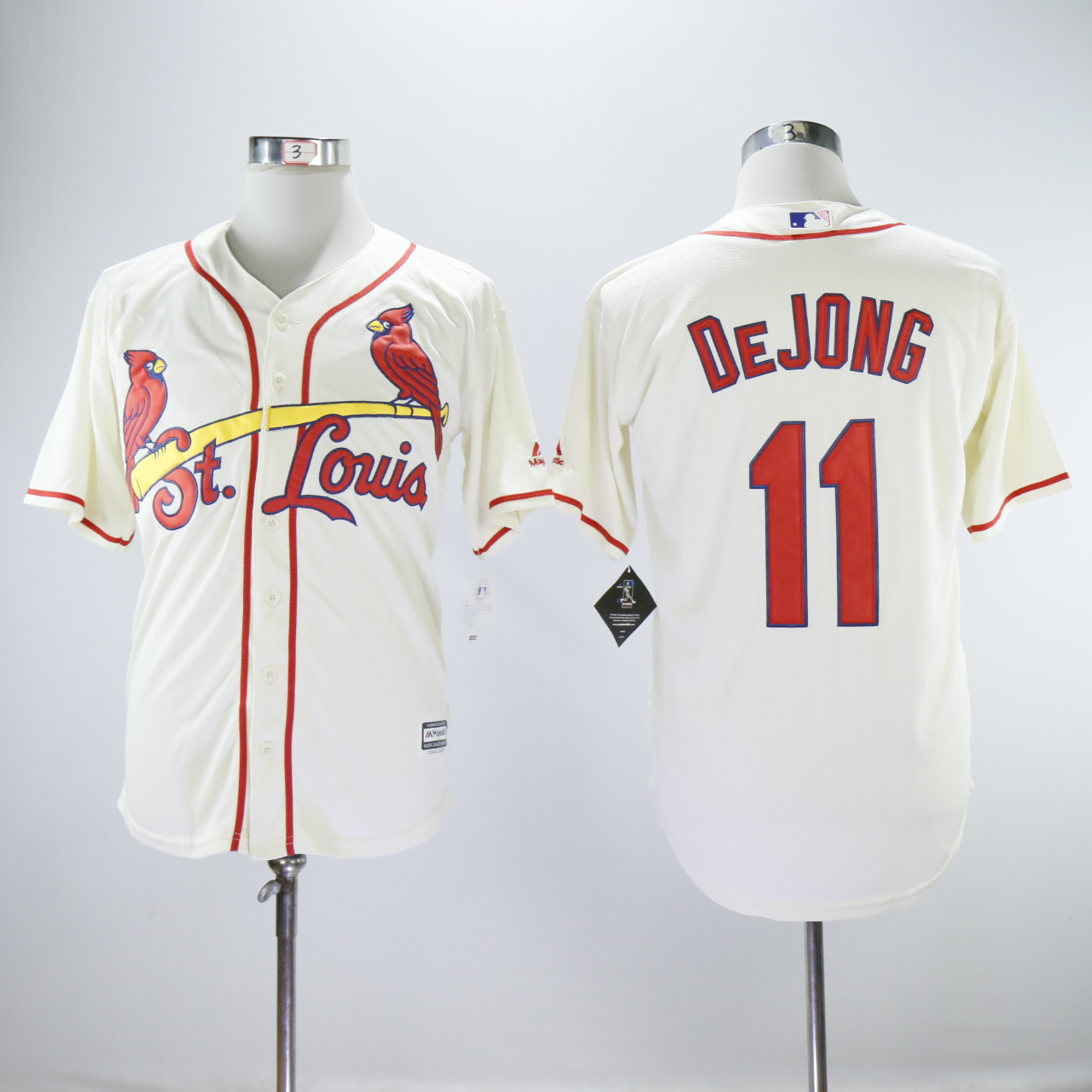 Men St. Louis Cardinals 11 Dejong Cream Game MLB Jerseys