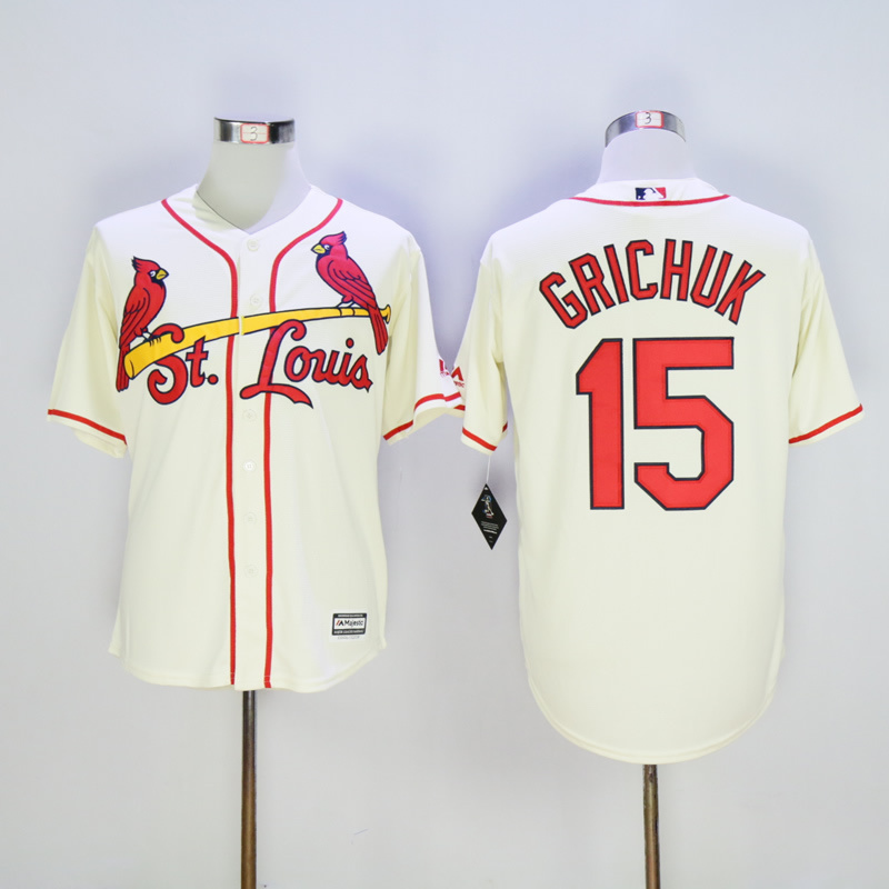 Men St. Louis Cardinals 15 Grichuk Cream Throwback Game MLB Jerseys