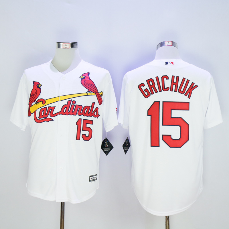 Men St. Louis Cardinals 15 Grichuk White Throwback Game MLB Jerseys