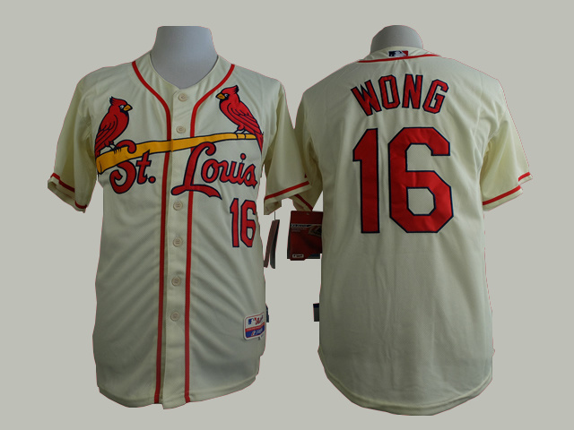 Men St. Louis Cardinals 16 Wong Cream MLB Jerseys