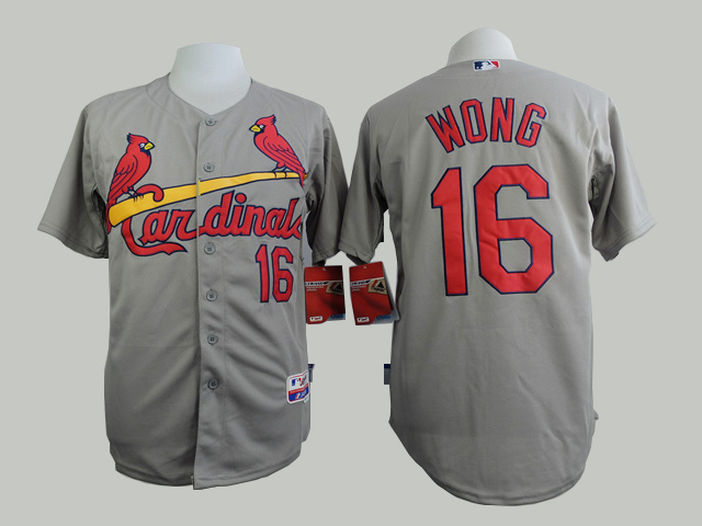 Men St. Louis Cardinals 16 Wong Grey MLB Jerseys