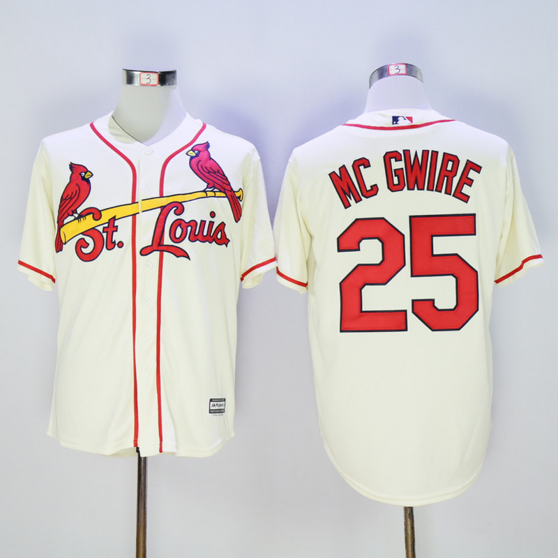 Men St. Louis Cardinals 25 Mc Gwire Cream Throwback MLB Jerseys