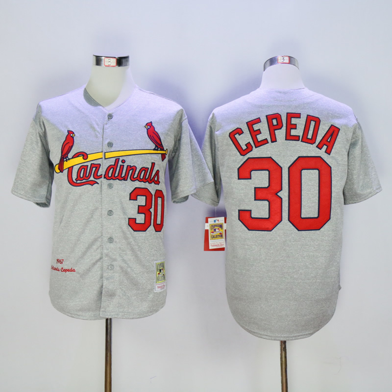 Men St. Louis Cardinals 30 Cepeda Grey Throwback 1967 MLB Jerseys