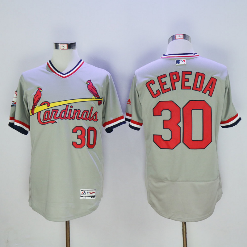 Men St. Louis Cardinals 30 Cepeda Grey Throwback Elite MLB Jerseys