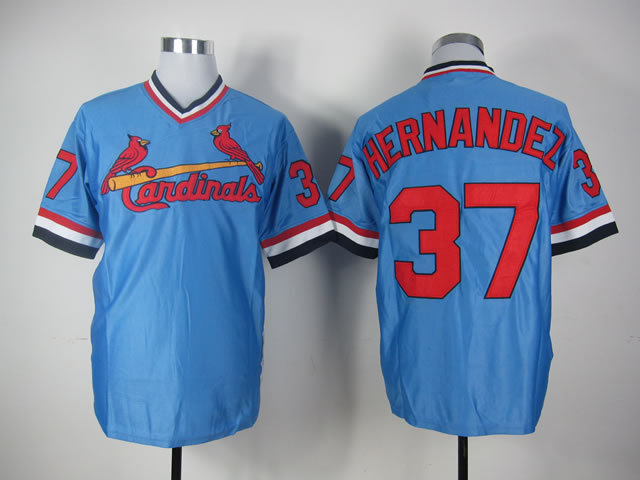 Men St. Louis Cardinals 37 Hernandez Blue Throwback MLB Jerseys