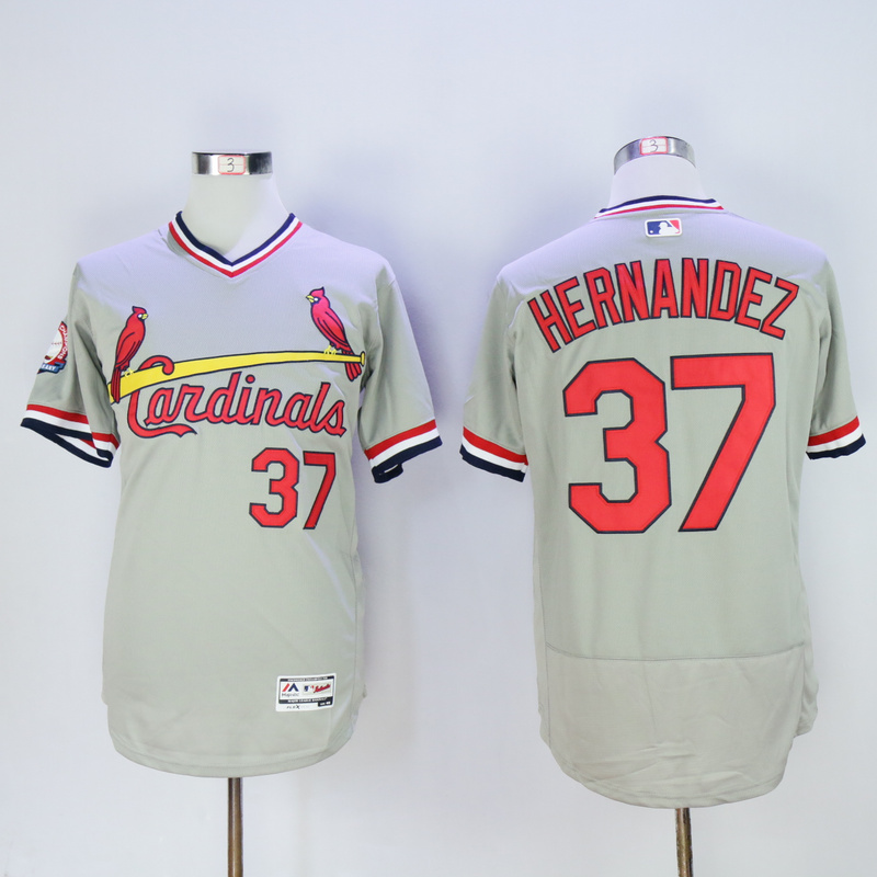 Men St. Louis Cardinals 37 Hernandez Grey Throwback Elite MLB Jerseys
