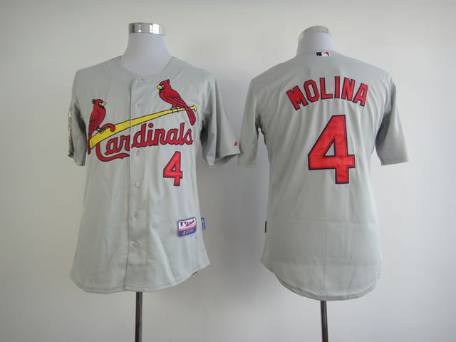 Men St. Louis Cardinals 4 Molina Grey MLB Jerseys