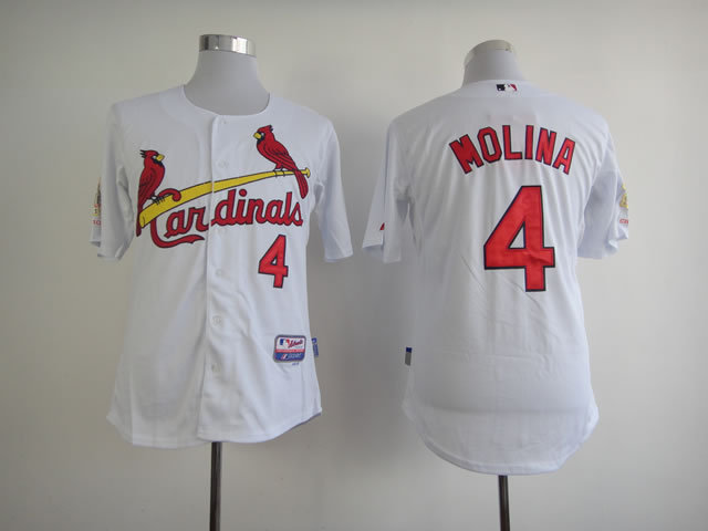 Men St. Louis Cardinals 4 Molina White MLB Jerseys