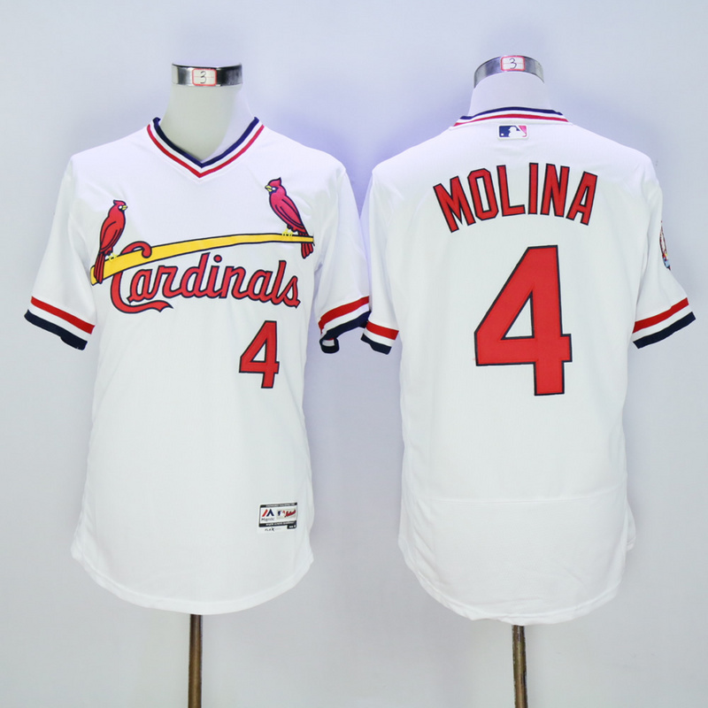 Men St. Louis Cardinals 4 Molina White Throwback Elite MLB Jerseys
