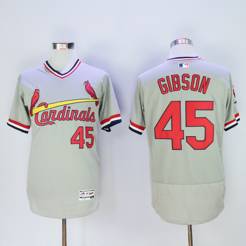 Men St. Louis Cardinals 45 Gibson Grey Throwback Elite MLB Jerseys