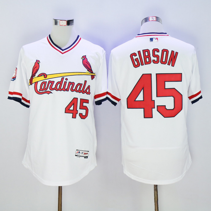 Men St. Louis Cardinals 45 Gibson White Throwback Elite MLB Jerseys