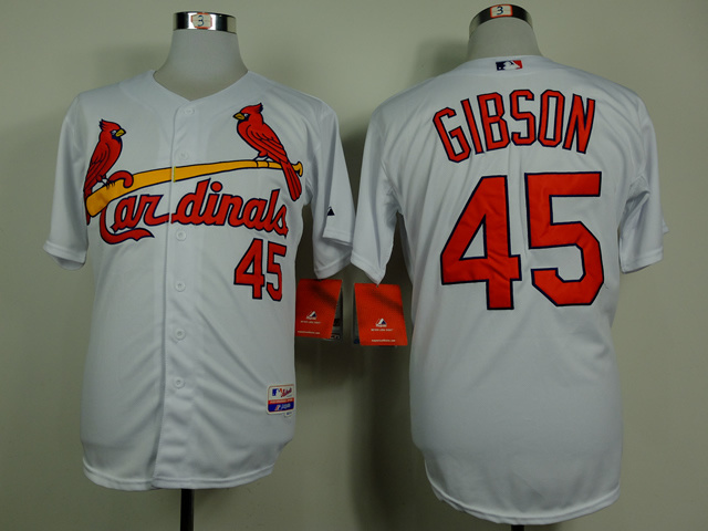 Men St. Louis Cardinals 45 Gibson White Throwback MLB Jerseys