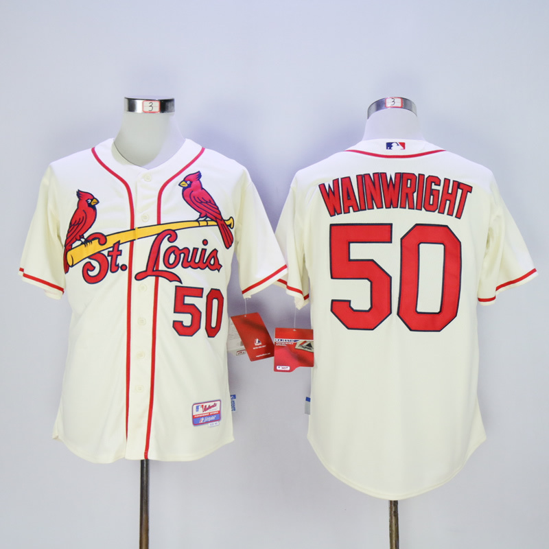 Men St. Louis Cardinals 50 Wainwright Cream MLB Jerseys