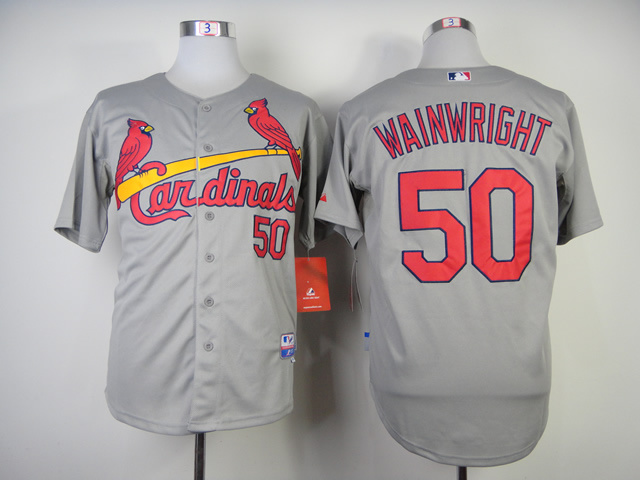 Men St. Louis Cardinals 50 Wainwright Grey MLB Jerseys