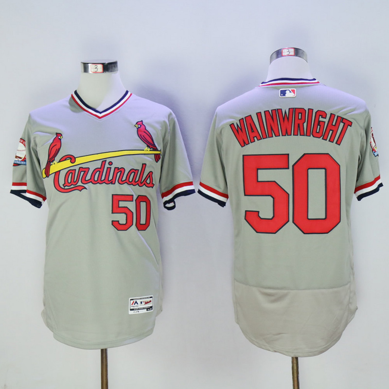 Men St. Louis Cardinals 50 Wainwright Grey Throwback Elite MLB Jerseys