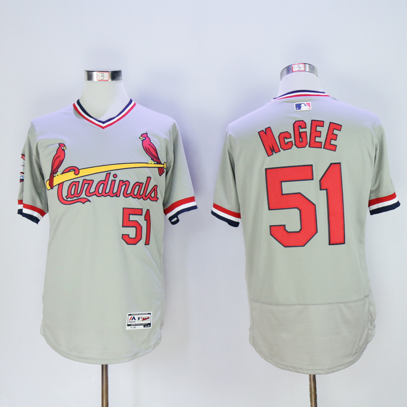 Men St. Louis Cardinals 51 Mcgee Grey Throwback Elite MLB Jerseys