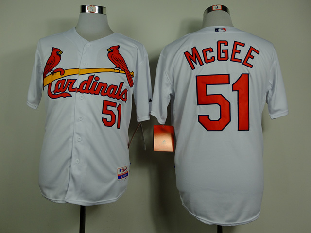 Men St. Louis Cardinals 51 Mcgee White MLB Jerseys