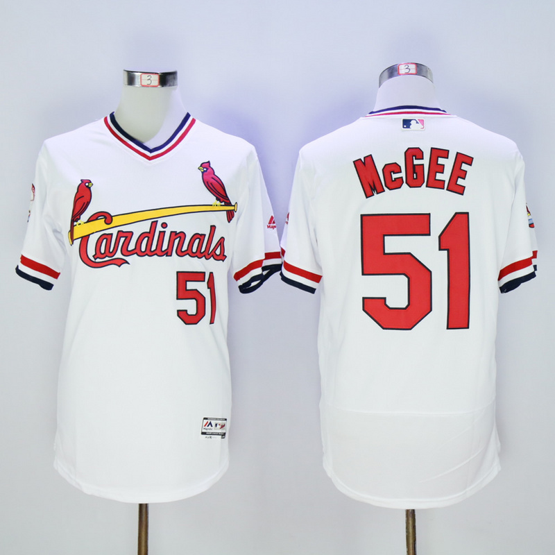 Men St. Louis Cardinals 51 Mcgee White Throwback Elite MLB Jerseys