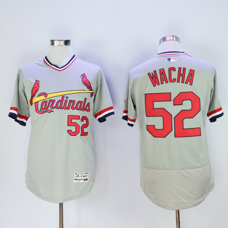 Men St. Louis Cardinals 52 Wacha Grey Throwback Elite MLB Jerseys
