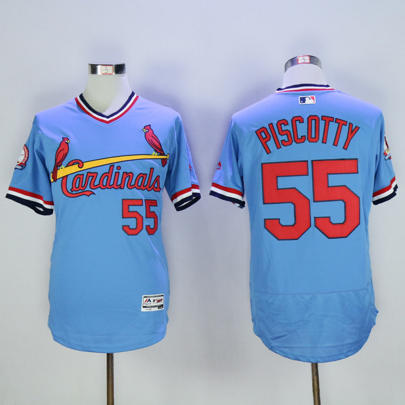 Men St. Louis Cardinals 55 Piscotty Blue Throwback Elite MLB Jerseys