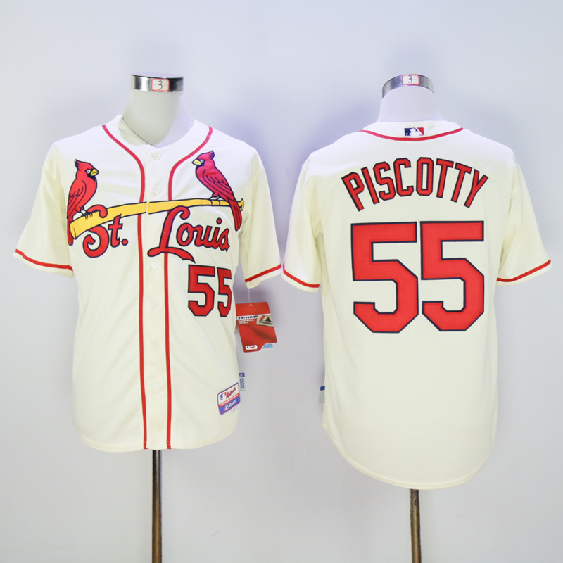 Men St. Louis Cardinals 55 Piscotty Cream Throwback MLB Jerseys