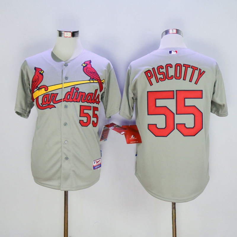Men St. Louis Cardinals 55 Piscotty Grey Throwback MLB Jerseys