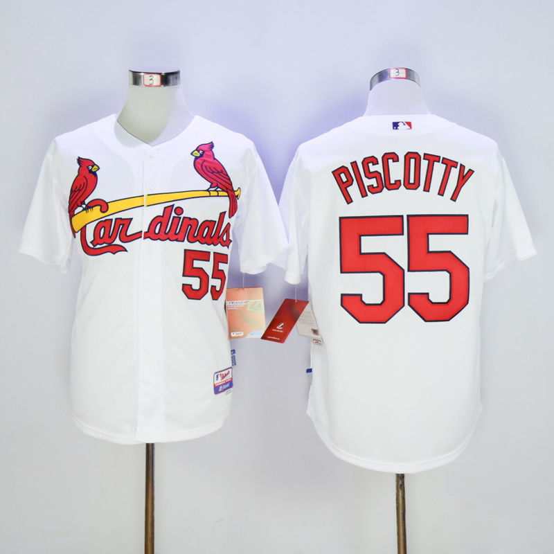 Men St. Louis Cardinals 55 Piscotty White Throwback MLB Jerseys