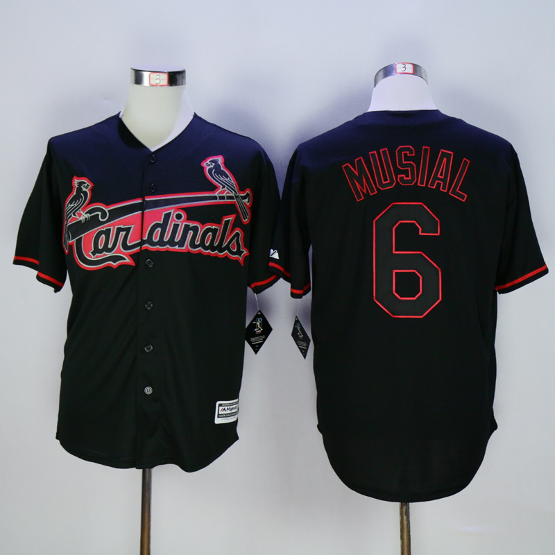 Men St. Louis Cardinals 6 Musial Black MLB Jerseys