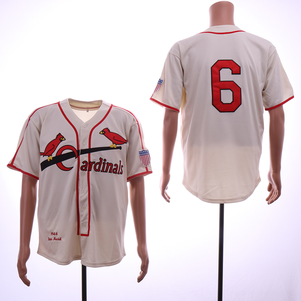 Men St. Louis Cardinals 6 Musial Cream Throwback 1944 MLB Jerseys