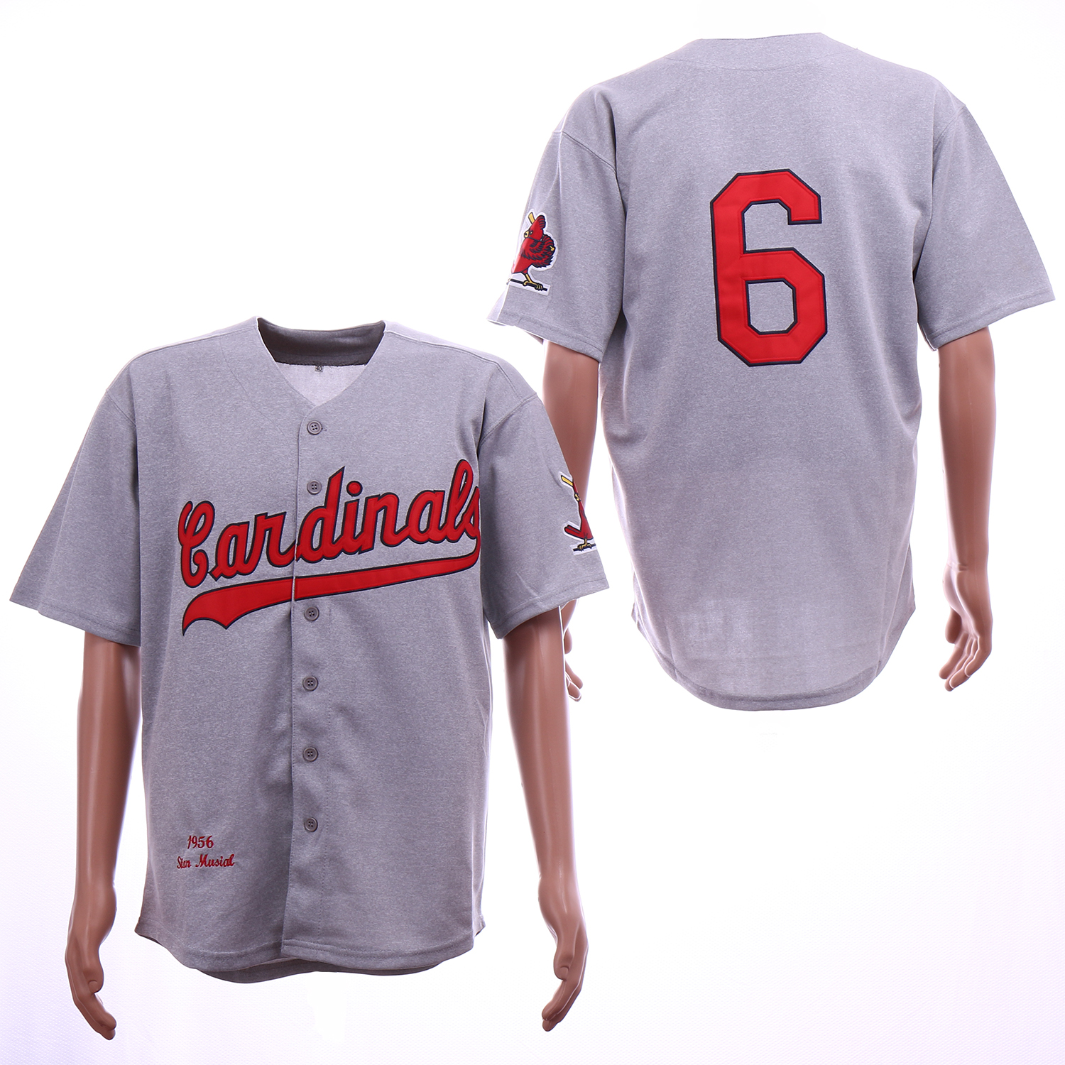 Men St. Louis Cardinals 6 Musial Grey Throwback 1956 MLB Jerseys