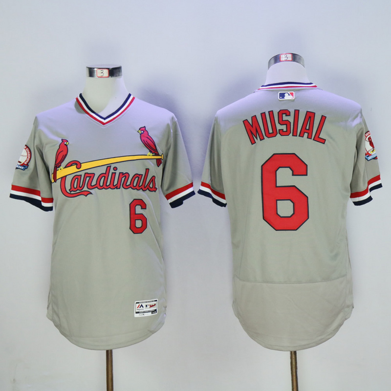 Men St. Louis Cardinals 6 Musial Grey Throwback Elite MLB Jerseys