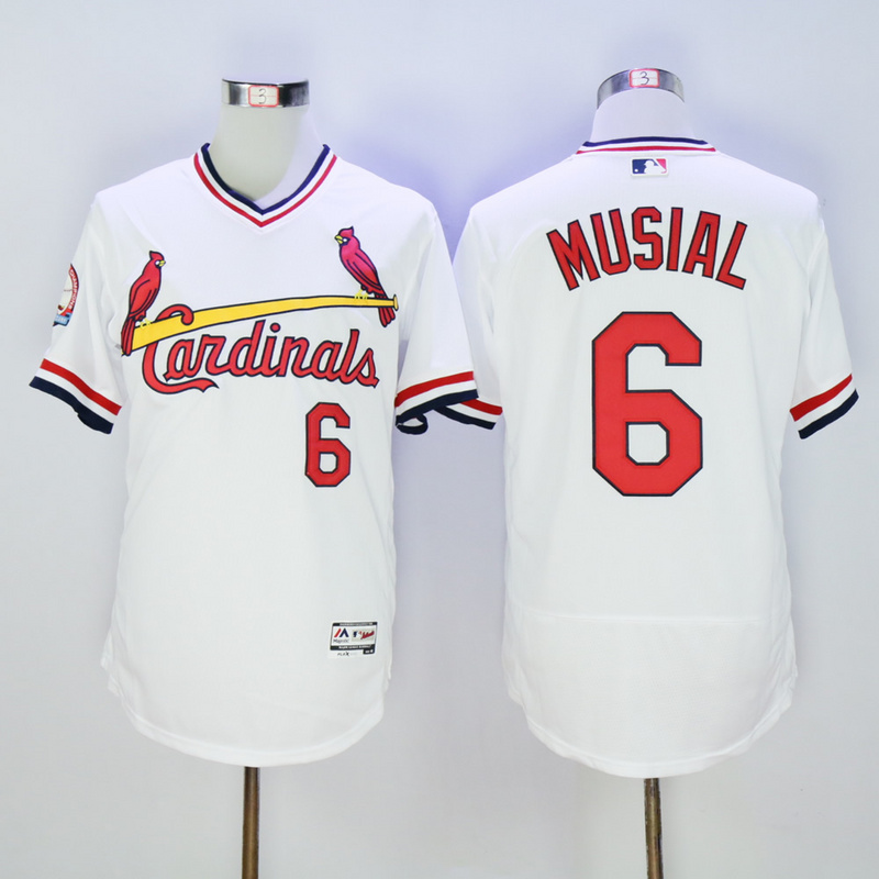 Men St. Louis Cardinals 6 Musial White Throwback Elite MLB Jerseys
